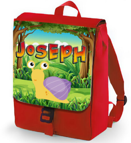 Personalised Red Kids Backpack Any Name Snail Boys Girls Childrens School Bag