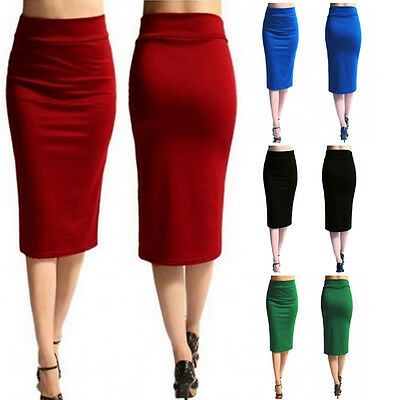 NEW LADIES PLAIN OFFICE WOMENS STRETCH BODYCON MIDI JERSEY PENCIL SKIRT