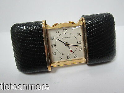 VINTAGE MOVADO FACTORIES BLACK LIZARD ERMETO POCKET TRAVELING TRAVEL WATCH