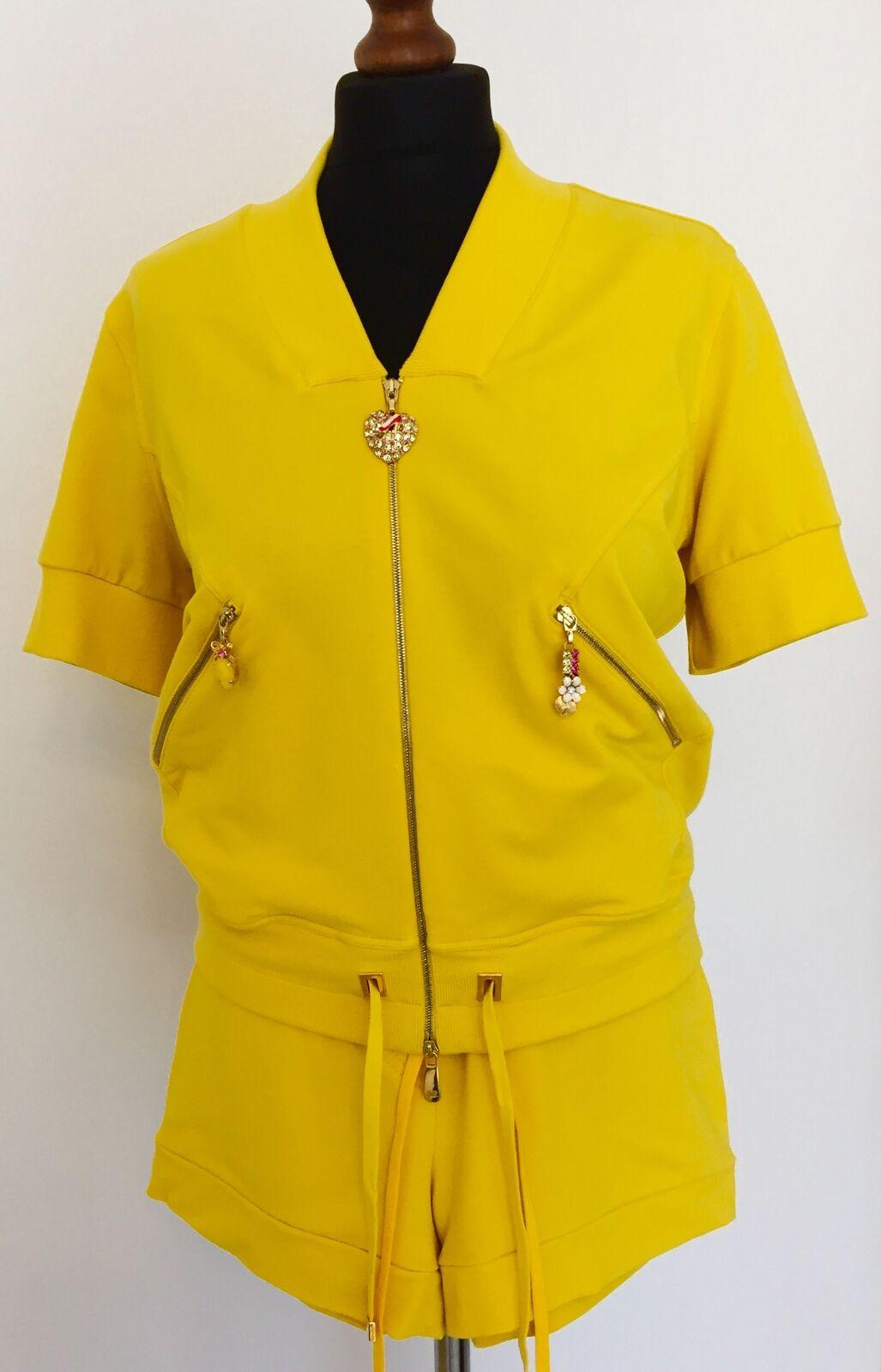 VDP VIA DELLE PERLA giallo viscosa Fashion Tuta Pantaloni Jumper Set...