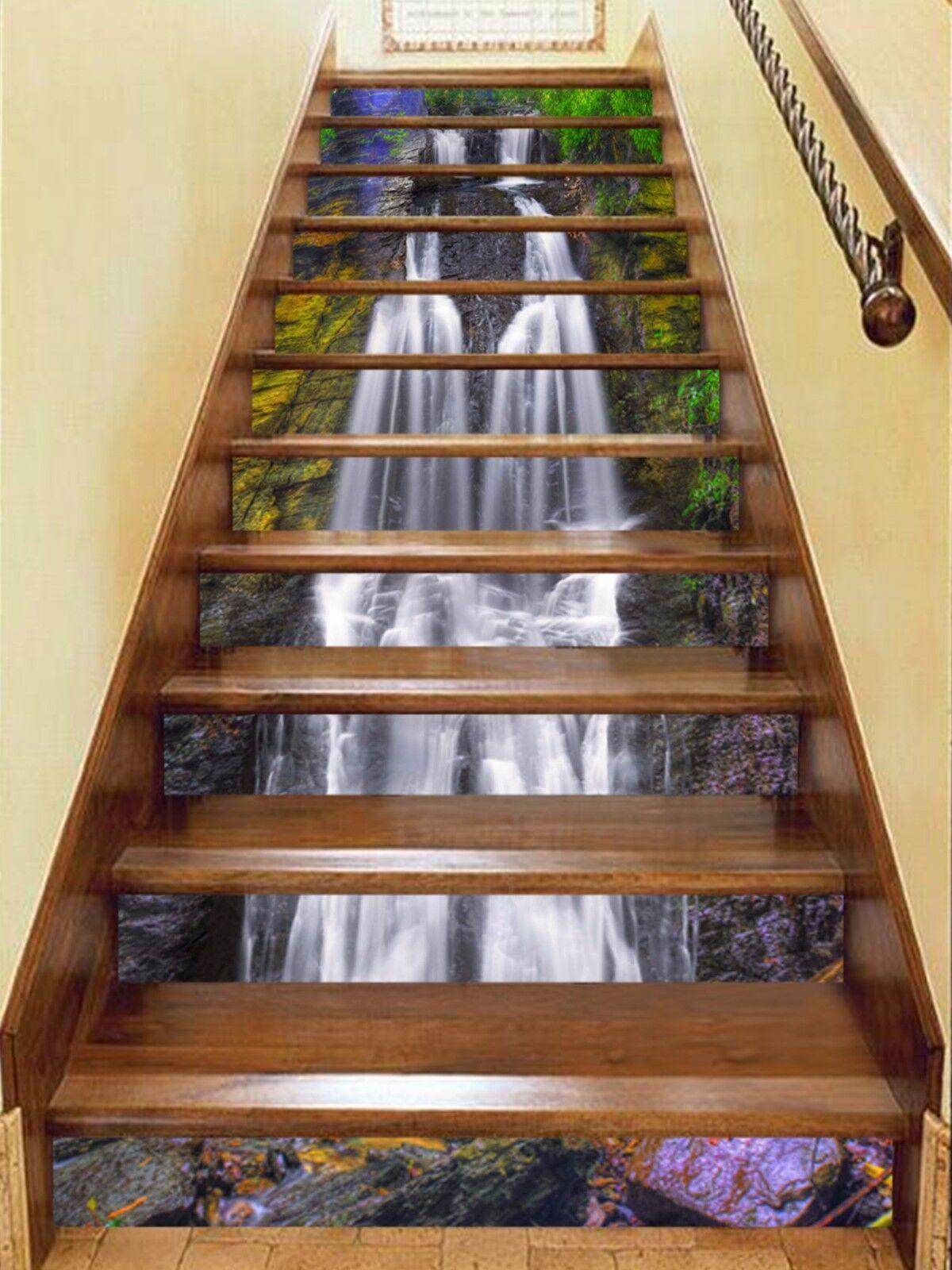 3D Creek Falls 123 Stairs Risers Decoration Photo Mural Vinyl Decal Wallpaper US