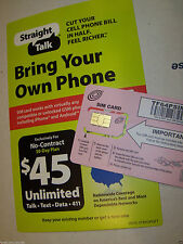 STRAIGHT TALK T-MOBILE STANDARD SIM CARD ACTIVATION KIT -OLD STOCK, UNLIMITED 4G