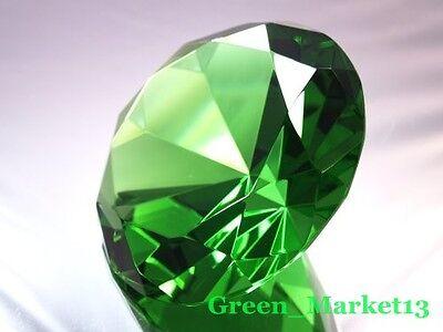 100mm/4''_Round Sapphire Glass Crystal Diamond Shaped Paperweight- Dark Green