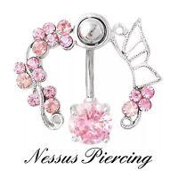 Stunning belly bar piercing Jewel surround navel cute banana bar pink or clear!