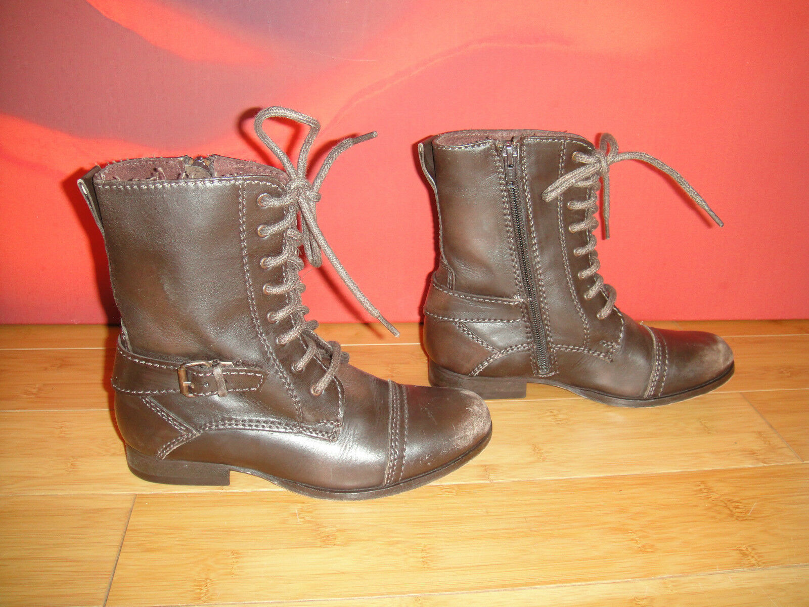 NORWIC Brown distressed leather  combat style boots  EU 34 *46*