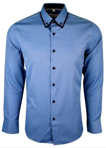 406 Homme Double Col Texturé shirt à manches longues formelle robe casual £ 17.99
