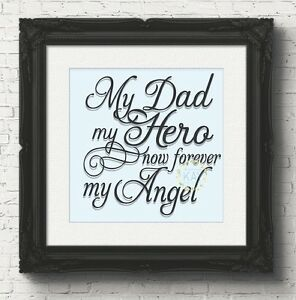 My Dad My Hero Now Forever My Angel Decal Sticker For Box Frame