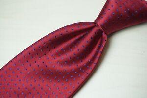 Charvet Place Vendome Cherry Red Navy Blue Sateen 100% Silk Tie France