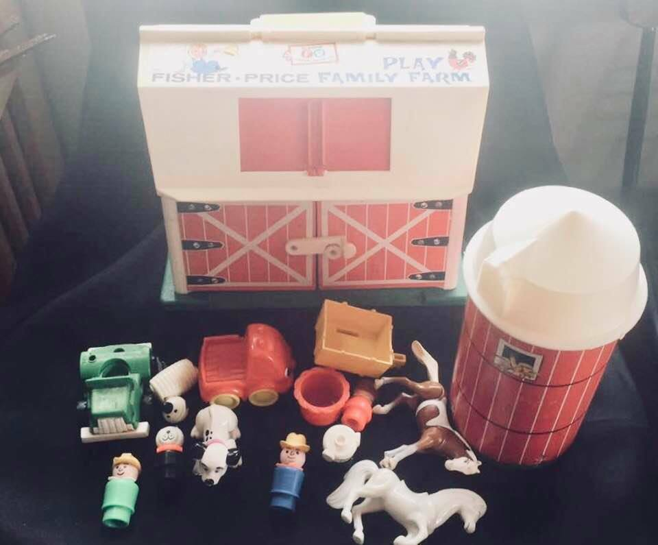Vintage Fisher Price Play Family Farm Barn Barn Barn Silo Little People 65c9f3