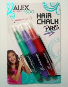 Hair Chalk Pens 3 Colors Plus Applicator Comb, Girls Fun Fashion Look Kit