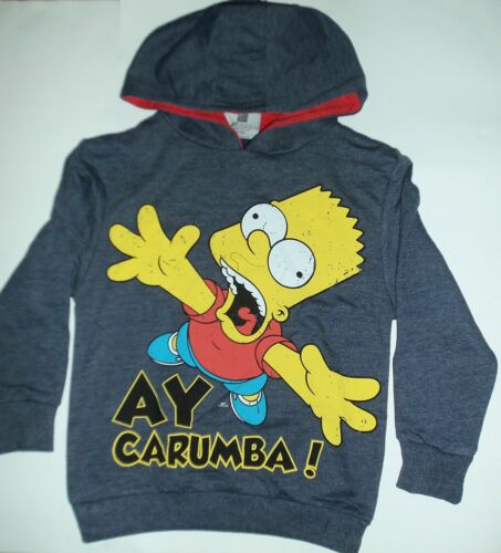 Boys Bart Simpson Grey Hoodie Sweatshirt with /'Ay Carumba/' detail
