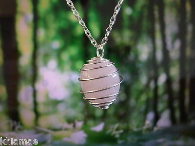 Rose Quartz Silver Spiral Necklace 18 chain pendant gemstone crystal wicca pagan