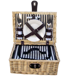 Handy-two-person-fitted-picnic-hamper-basket-with-cooler
