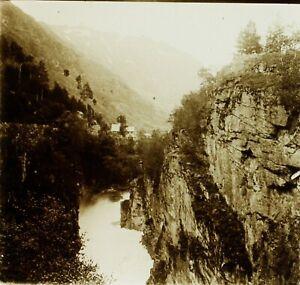 NORVEGE-Gorges-Montagne-Photo-Stereo-Vintage-Plaque-Verre