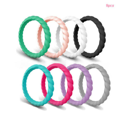 Durable Silicone Wedding Rings Band For Women Stackble Rubber Comfortable fit US