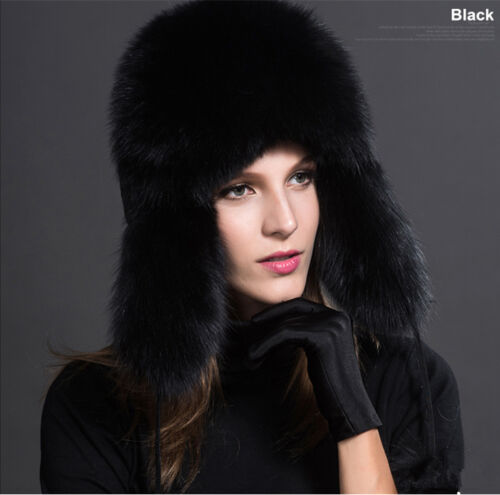 2020 Fashion Womens Cap Real Fox//Raccoon Fur Hat Russian Ushanka Warm Winter Hat