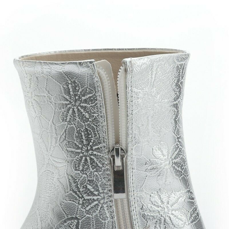 Ladies Party Rhinestones Glitter Square Toe Block High Heel Ankle Boots 44/48 L