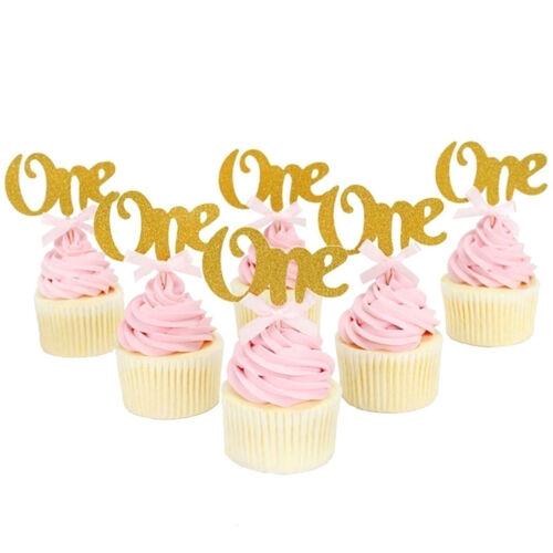 6pcs 1st Birthday Cupcake Toppers Cake Picks Baby Shower Birthday Party Decor VH