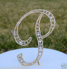 "5"" Crystal Rhinestone Gold Letter P Bling Wedding Cake Topper Initial Birthday"