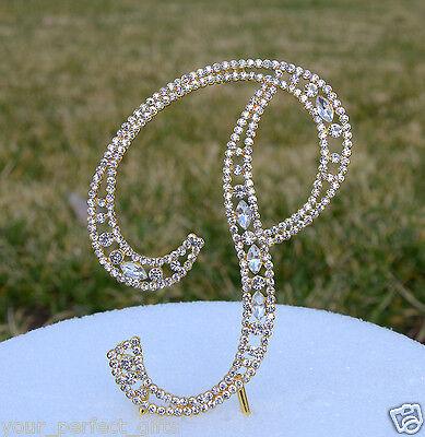 "5"" Crystal Rhinestone Gold Letter P Bling Wedding Cake Topper Initial Birthday"