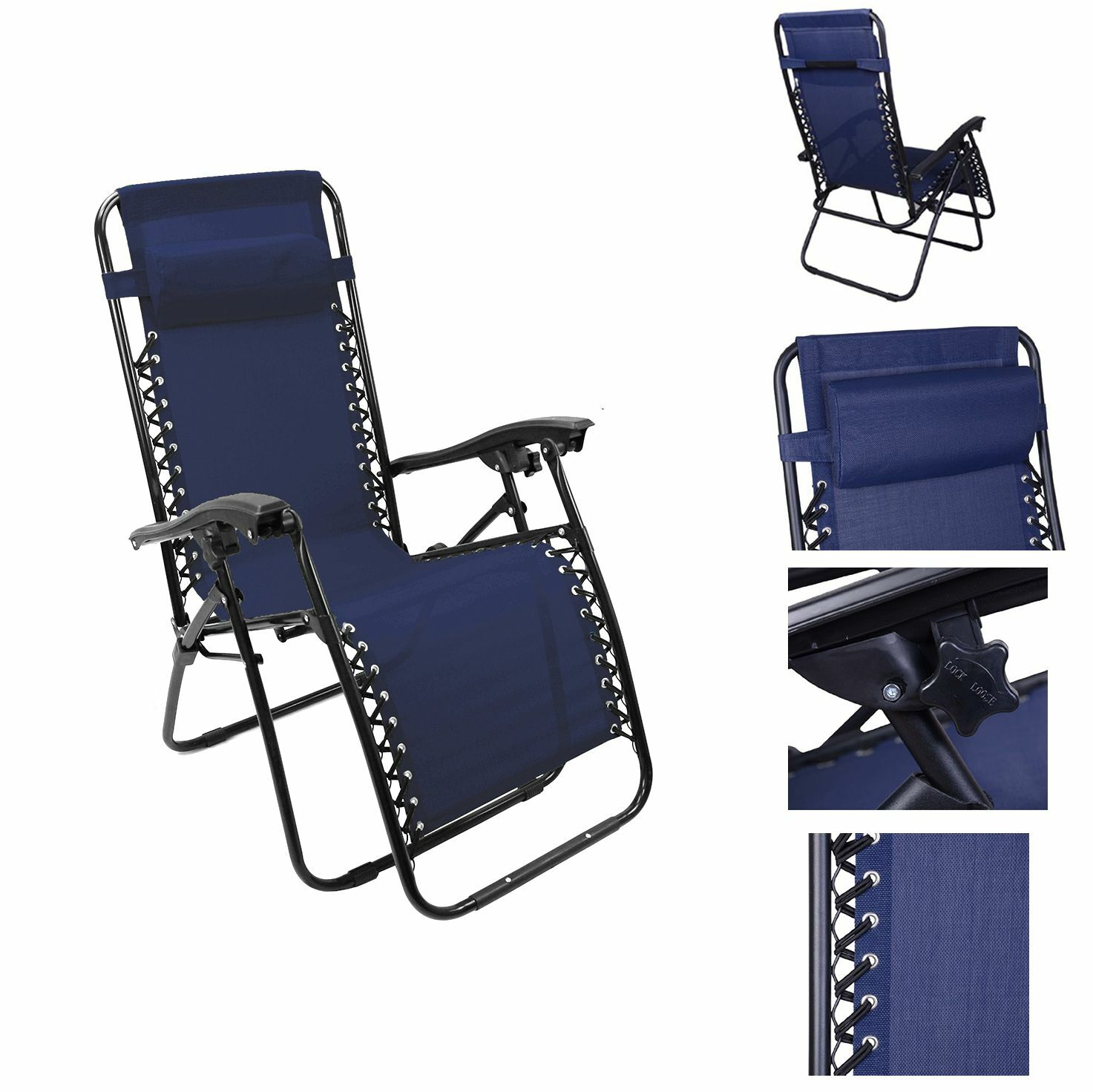Lounge chair recliner reclining patio pool beach outdoor for Fold up garden chairs