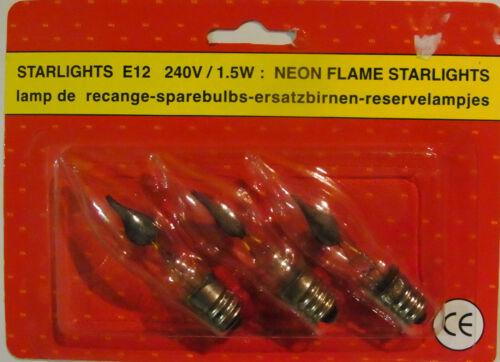 Starlights E12 240V 1,5W Neon Flame Starlights Ersatzbirnen 1 x 3 Stück