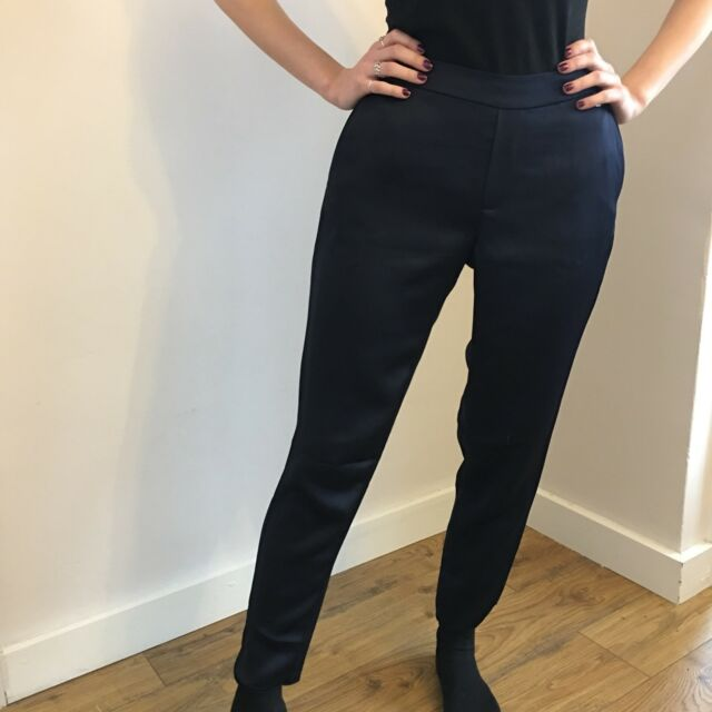 4b6346a95 New Ted Baker Navy Blue Satin Tapered Jogger Cigarette Trousers Size 1 Uk 8