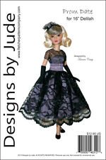 "Prom Date Doll Clothes Sewing Pattern for 16"" Delilah Noir Dolls Ashton Drake"