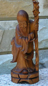 ANTIQUE-19C-CHINESE-CAMPHOR-WOOD-HAND-CARVED-IMMORTAL-WITH-PEACH-CANE-STATUE