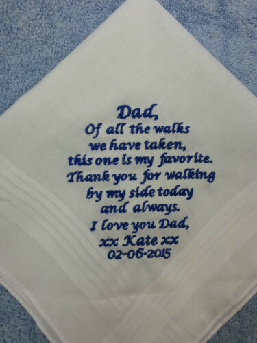 PERSONALISES MENS HANKIE FOR DAD FATHER OF BRIDE OR STEPDAD FAVOURITE WALK
