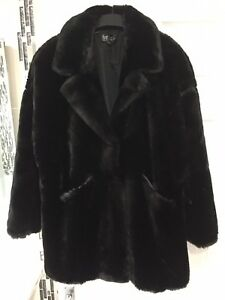 Aw Extra Cappotto Faux Size XL Uk Bnwots 18 Zara nero Fur Large 19 OwZS5ax