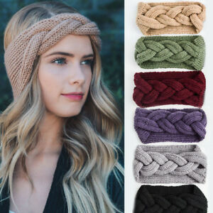 Women-039-s-Braid-Cable-Knitted-Crochet-Head-Wrap-Stretch-Wide-Headband-Hair-Band