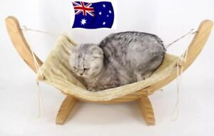 Cat-Or-Pet-Hammock-Stand-Wooden-Frame-Bed-Hanging-Deluxe-Timber-Pine-Sleep