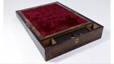Victorian Rosewood Lap Desk With Original Key, Traveling Desk, Antique