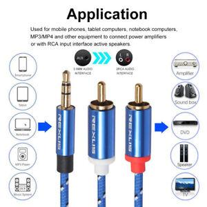 Jack-Male-vers-2RCA-Male-Cable-Audio-Aux-Stereo-Cordon-Y-Splitter-Fil-D-039-ecouteur