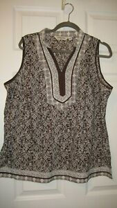 St-John-039-s-Bay-Woman-Sleeveless-Pull-over-V-neck-Brown-amp-White-top-Plus-size-1X