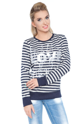 Womens Striped Jumper Love Print Long Sleeve Top Casual Blouse Size 8-12 1902