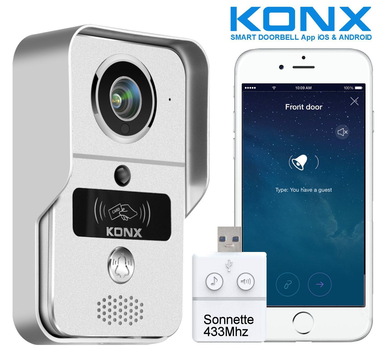 KONX®KW02C Interphone 720p IP-Wifi-Relais porte-RFID-Full Duplex+Sonnette 433Mhz