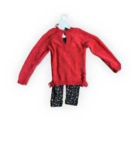 Jessica Simpson girls two Pc Sweater and pant set Crimson 3t