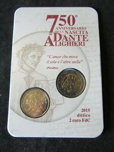 2 Euro Commémorative Coincard Bu Italie 2015 Dante Alighieri