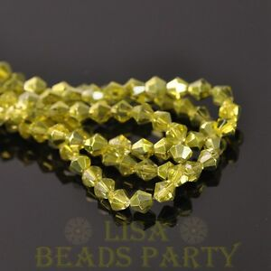 New-Arrival-200pcs-4mm-Bicone-Faceted-Loose-Spacer-Glass-Beads-Lt-Olive-Green
