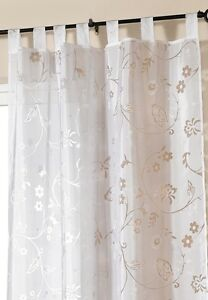 Gardine-Vorhang-Schlaufenschal-Store-transparent-weiss-245-x-140-cm-Ausbrennoptik