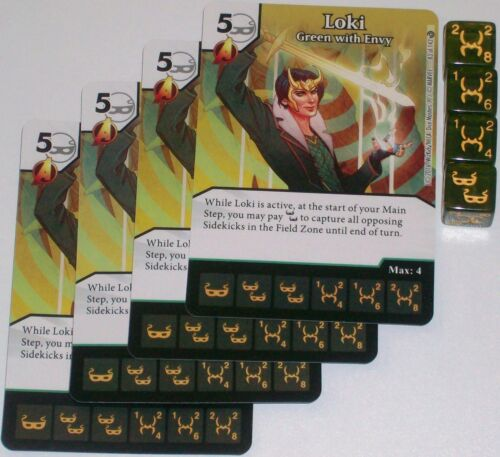 4 X LOKI GREEN WITH ENVY 83//142 Civil War Dice Masters