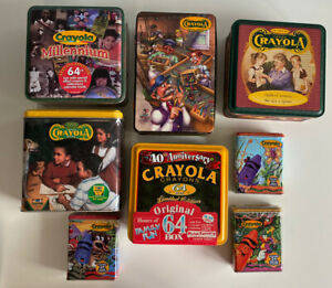 Crayola-Lot-of-8-Collectible-Tins-Crayons-Millennium-Discovery-Vintage-90s-2000s
