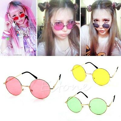 New Retro Women Men Plastic Frame Colorful Lens Sunglasses Eyewear Round Glasses