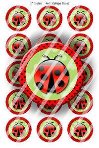 Pre-Cut-Bottle-Cap-Images-Ladybug-Fun-Collage-Sheet-R391-1-Inch-Circles