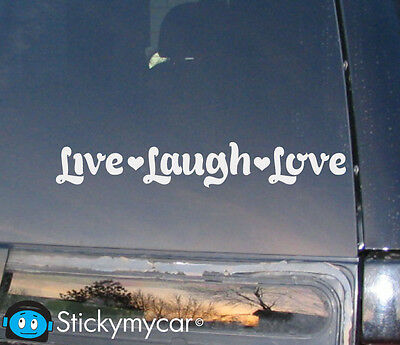 Live Laugh Love Girl Family Life Wonderful Hope Car Decal / Sticker - White