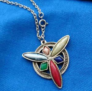 JEM-71-Celtic-Multi-Color-Agate-Pendant-Necklace-Silver-Chain-Vintage-Estate