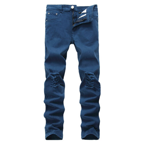 Men/'s Stylish Slim Fit Stretch Destroyed Ripped Skinny Denim Long Jeans Trousers