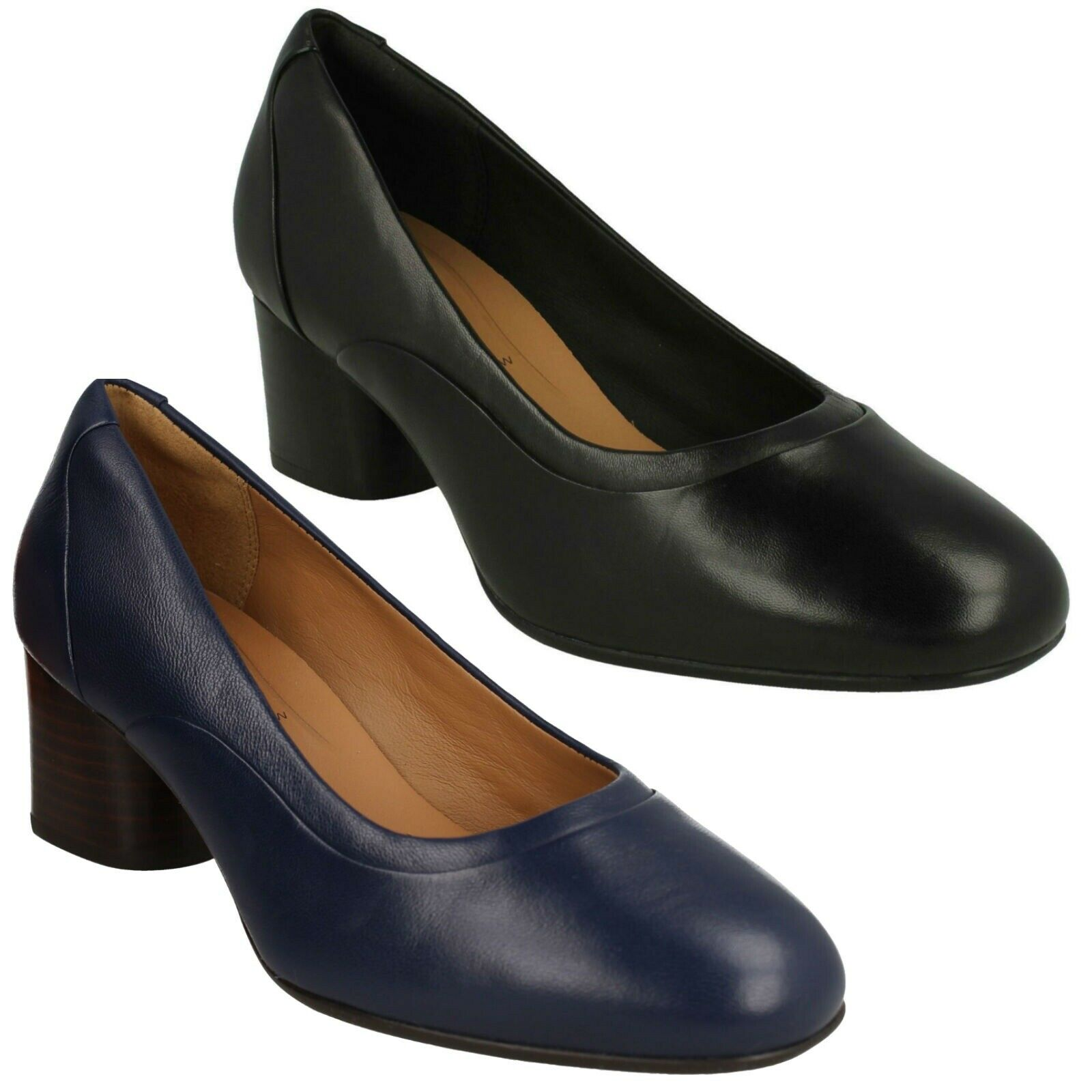 LADIES CLARKS LEATHER UNSTRUCTUrot OFFICE WORK SLIP ON COURT schuhe UN COSMO STEP
